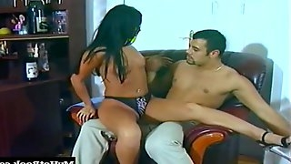 Luscious raven-haired hooker Christine gets pounded with a stiff pole