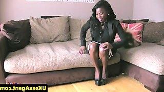Ebony casting babe throated during audition