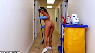 A cleaning lady gets her hairy cunt fucked in sexy lingerie