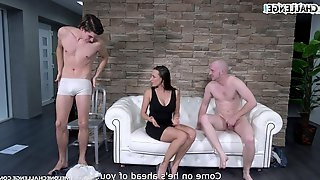 Brunette whore Mea Melone wants two guys to pound her