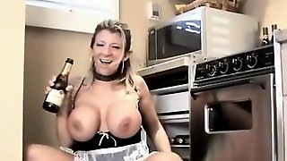 Sexy Maid Sara Jay plays with wine bottle in pussy
