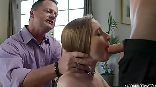 Several young guys fuck Laney Grey in front of her old husband