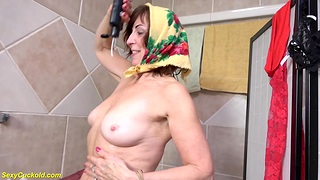 grandma takes a hot shower after cuckold sex