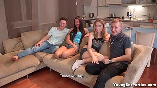 Russian student group sex line with two pretty amateur chicks