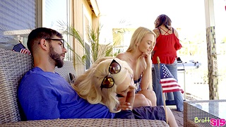 Blonde babyhood share cock in more than not that home threesome