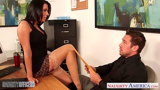 Slutty bookkeeper Rachel Starr seduces young and handsome boss Johnny Castle