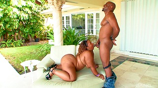 Fat ebony woman gets her niggardly holes rammed by a suppliant on fire