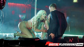 Two strippers Abigail Mac and Nicolette Shea serve one client on every side the V.I.P room