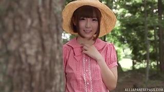 Amazing outdoors MMF threesome with forfeiture model Sakura Kizuna