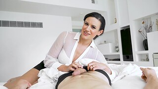 POV video of horny Penny Barber giving habitual user and riding in reverse