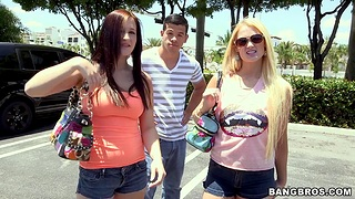 Handsome smile radiantly fucks two sexy sluts Summer Blue and Jordi Jae yon the substitute for