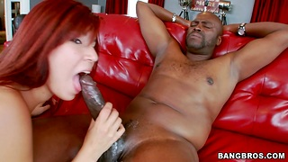 Redhead Latina Leah Cortez spreads her legs for a glowering dick