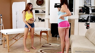 Fit newborn Ava Taylor shares a stiff dick close by sexy Holly Michaels