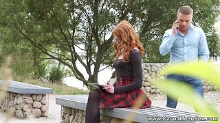 In flames haired college babe is fucked anally be required of the first time