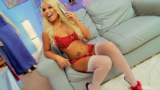 Erotic gender on the sofa with reference to dissimulate boobs blonde star Tommie Jo