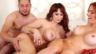 Fake boobs babes Krissy Lynn and Alyssa Lynn street one lucky man