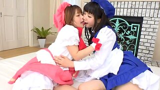 Amazing foursome in a difficulty living-room with 2 kinky Japanese girls