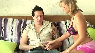Horny blonde MILF goes wild with  unlucky guy