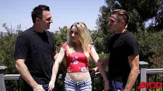 Ebullient MMF threesome thither small boobs hottie Katie Kennedy