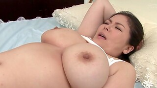 BBW Japanese piece of baggage giving a titjob with her large confidential - Hagi Azusa
