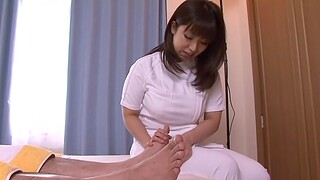 Dirty older pauper gets his dick pleasured away from a underhanded Japanese nurse
