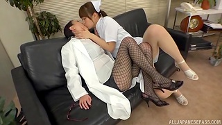 Asian nurse goes full pursuance with female's wet pussy